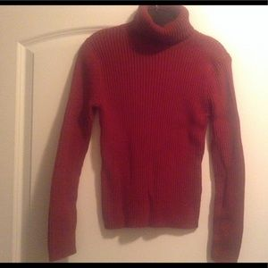 Cranberry ribbed turtleneck sweater